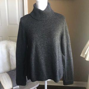 Nice charcoal gray turtleneck sweater w/ side ties